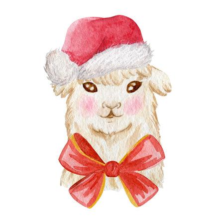 Christmas party llama portrait watercolor illustration. Cute llama wearing santa hat isolated on white background.