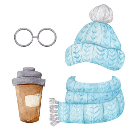 Blue winter accessories collection isolated on white background. Knitted hat, scarf and glasses watercolor illustration. 스톡 콘텐츠