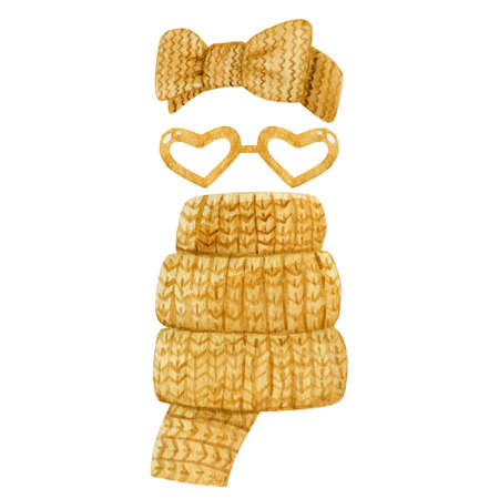 Mustard yellow winter accessories collection isolated on white background. Women knitted head band, scarf and glasses watercolor illustration. 스톡 콘텐츠