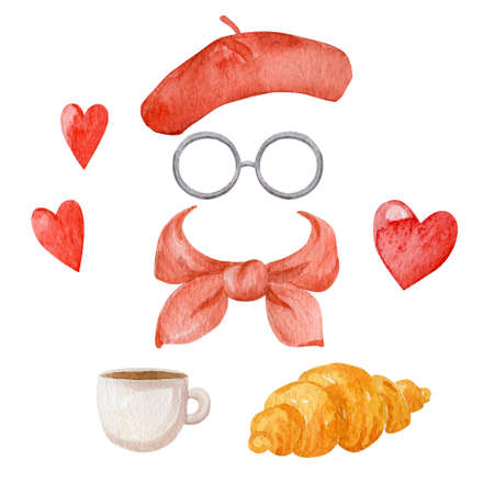 Red wear accessories collection and french food isolated on white background. Women beret, silk scarf and glasses watercolor illustration.