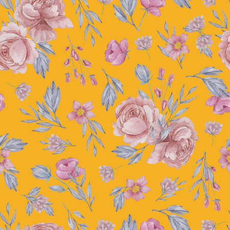 Roses and field herbs seamless pattern. Watercolor blush flowers on yellow background repeatable pattern. 스톡 콘텐츠