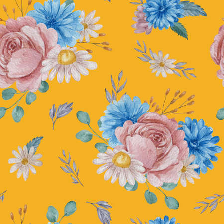 Roses and chrysanthemum floral seamless pattern. Watercolor blue and blush flowers on yellow background repeatable pattern. 스톡 콘텐츠