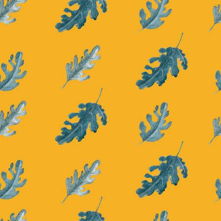 Green leaves seamless pattern. Oak or chrysanthemum leaves repeatable background.