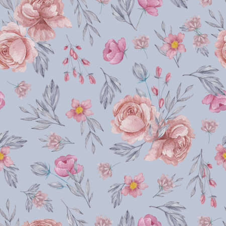 Roses and field herbs seamless pattern. Watercolor blush flowers on gray background repeatable pattern. 스톡 콘텐츠
