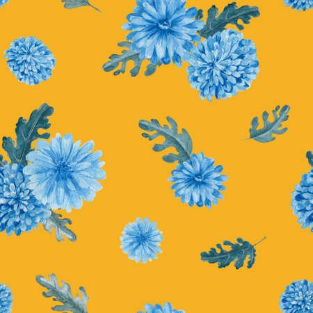 Chrysanthemum floral seamless pattern. Watercolor blue flowers on yellow background repeatable pattern. 스톡 콘텐츠