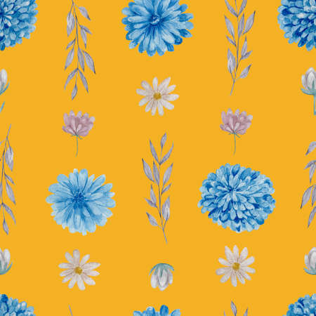 Chrysanthemum and daisies floral seamless pattern. Watercolor blue and white flowers on yellow background repeatable pattern.