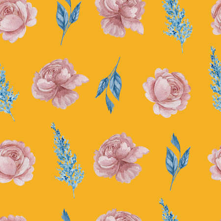 Roses and herbs floral seamless pattern. Watercolor blue and blush flowers on yellow background repeatable pattern. 스톡 콘텐츠