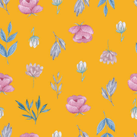Field flowers and herbs seamless pattern. Watercolor flowers on yellow background repeatable pattern.