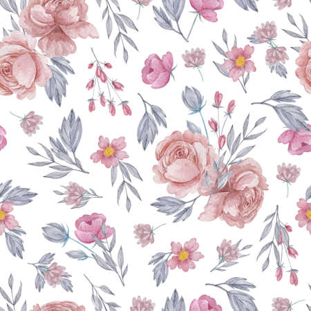 Roses and field herbs seamless pattern. Watercolor blush flowers on white background repeatable pattern. 스톡 콘텐츠