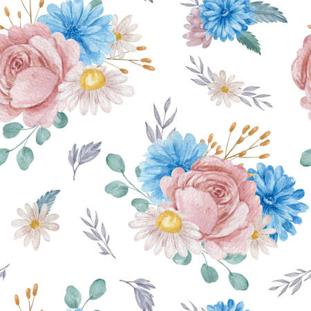 Roses and chrysanthemum floral seamless pattern. Watercolor blue and blush flowers on white background repeatable pattern.