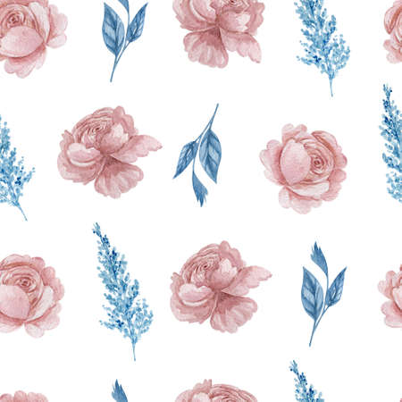 Roses and herbs floral seamless pattern. Watercolor blue and blush flowers on white background repeatable pattern.