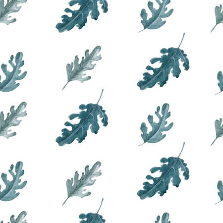 Green leaves on white seamless pattern. Oak or chrysanthemum leaves repeatable background. 스톡 콘텐츠