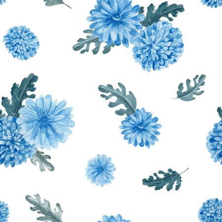 Chrysanthemum floral seamless pattern. Watercolor blue flowers on white background repeatable pattern.