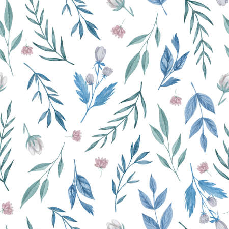 Field flowers and herbs seamless pattern. Watercolor flowers on white background repeatable pattern.