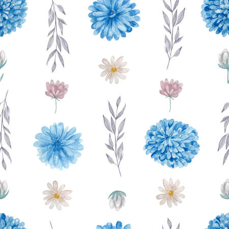 Chrysanthemum and daisies floral seamless pattern. Watercolor blue and white flowers on white background repeatable pattern.