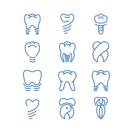 Tooth implants  vector collection.