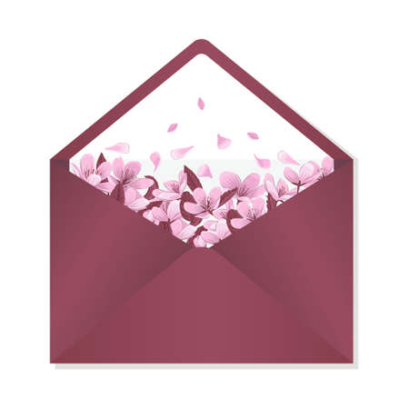 Envelope decorated with cherry blossom vector illustration. Burgundy envelope for wedding invitation isolated on white background.
