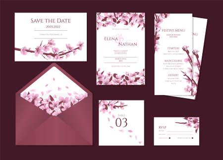 Cherry blossom wedding stationary vector template. Wedding invitation template with blooming cherry flowers.