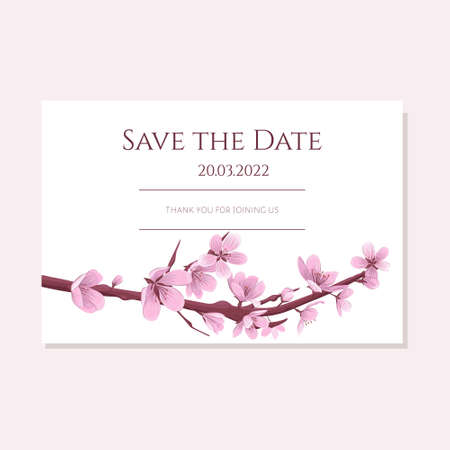 Save the date card template with blooming cherry flowers. Spring cherry blossom wedding invitation vector.