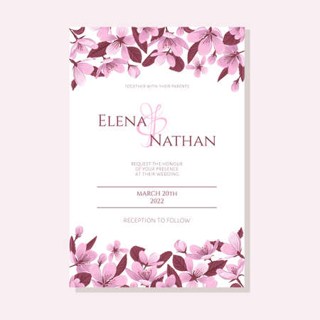 Wedding invitation template with blooming cherry flowers. Spring cherry blossom wedding invitation vector.