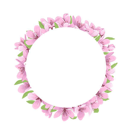 Pink cherry blossom flowers round frame isolated on white background. Spring frame with blooming fruit tree flowers vector illustration.