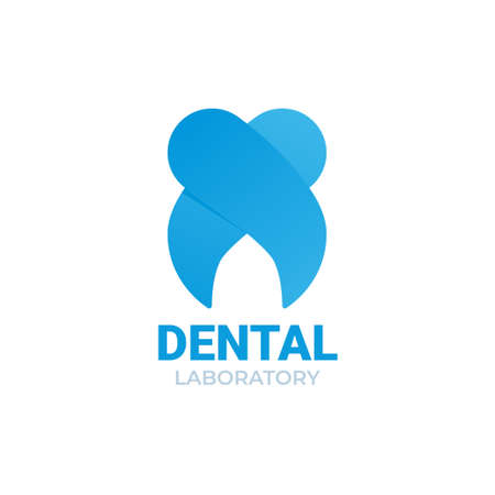 Blue tooth vector for dental clinic. Dental laboratory isolated on white background. 일러스트