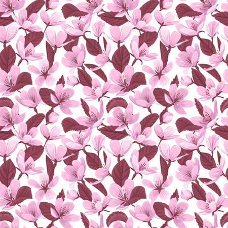 Cherry blossom flowers and leaves vector seamless pattern. Pink blooming flowers and leaves on white background. Gentle spring floral seamless pattern. 일러스트