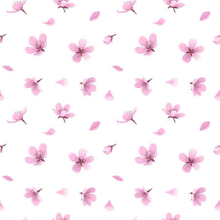 Cherry blossom flowers and petals vector seamless pattern. Pink blooming flowers and petals on white background. Gentle spring floral seamless pattern.