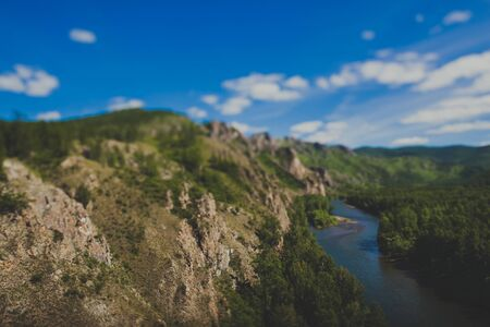 mountains and forests on the tourist trail Path of the ancestors in Khakassia