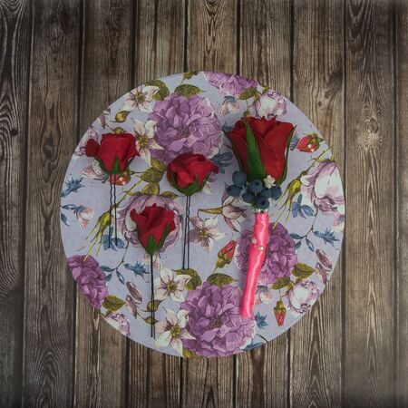 buttonhole: barrette and buttonhole of artificial flowers Stock Photo