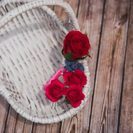 barrette: barrette and buttonhole of artificial flowers Stock Photo