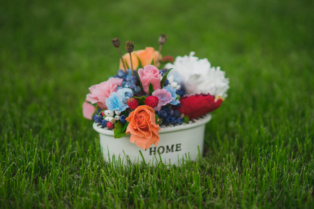 a small pot of flowers