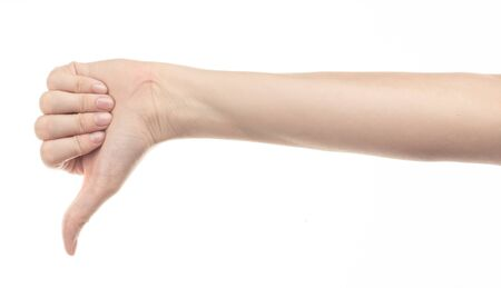 hand of young girl on white background