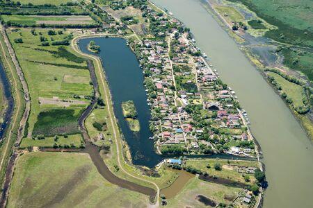 Aerial View Over Mila23 (Mile 23) Village, in the Danube Delta, Romania Stok Fotoğraf