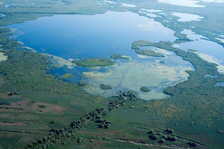 Danube Delta (Romania) Aerial View over Unique Nature Stok Fotoğraf