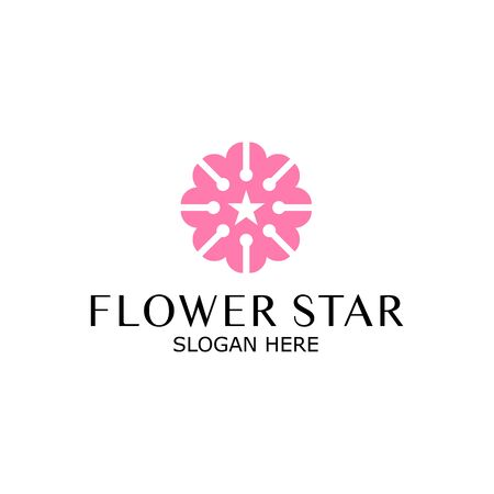 Star Flower Logo design Infinity loop vector template. Luxury Jewelry Fashion Logotype concept icon