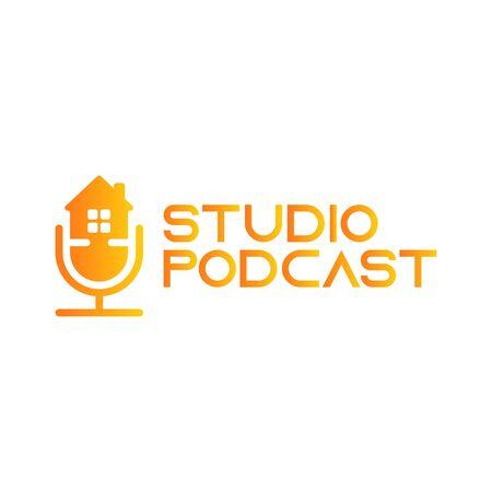 Podcast home,house real estate logo design inspiration Illustration