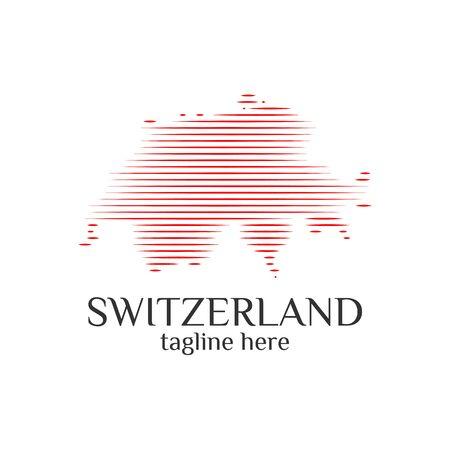 modern switzerland map wave logo template designs vector illustration simple Stock Illustratie