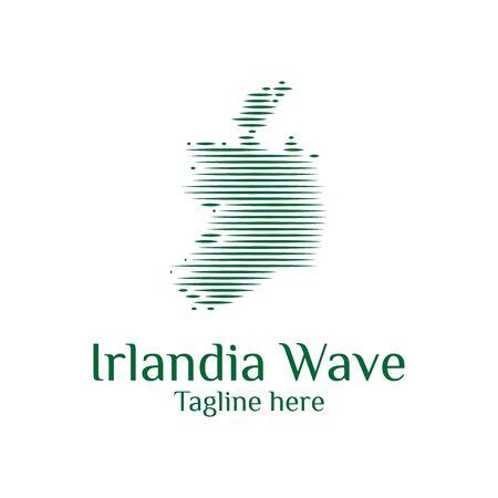 modern ireland map wave logo template designs vector illustration simple