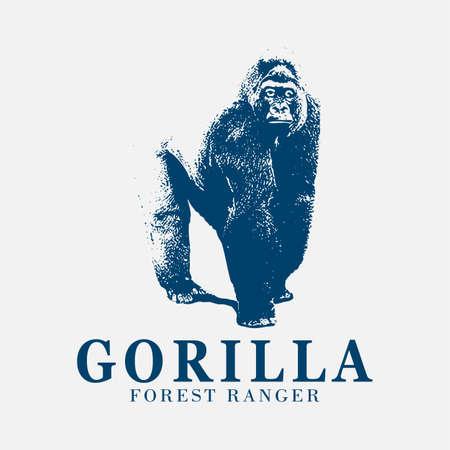 gorilla vintage logo illustration 矢量图像