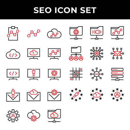 search engine optimization icon set include clipboard,link,cloud,storage,computer,email,setting,folder network,user,mail,data base,rating,cloud