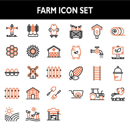 Farm icon set include scarecrow,agriculture,beehive,sun flower,egg,windmill,fence,plantation,carrot,birdhouse,hay,sprout,tractor,wheelbarrow