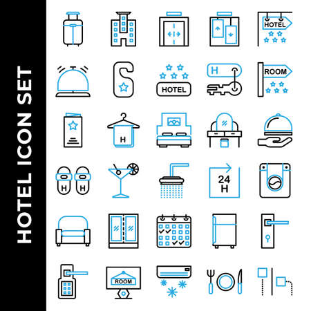 Hotel icon set include suitcase, hotel, elevator, bell, door hanger, hotel rating, key hotel, room, menu, towel, bed, table, delivery, slippers, shower, laundry, armchair, furniture, booking