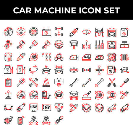car machine icon set include brake, gear, wheel, battery, repair, part, piston, steering, filter, spark, turbo, transmission, speedometer, fuel, charge, exhaust, car, key, toolkit, cone, stick