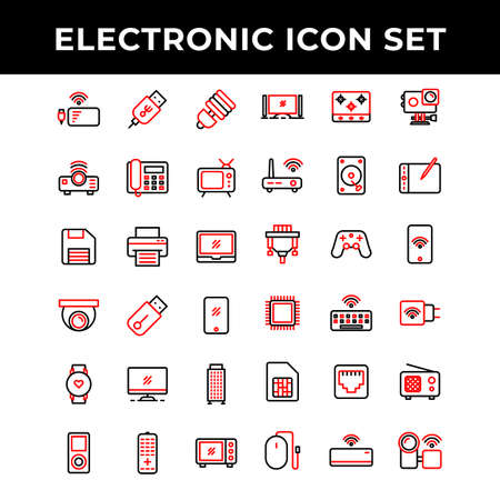 electronic icon set include power bank,Port,lamp,Projector,telephone,television,storage,printer,laptop,camera,flash drive,smart phone,computer,music player,microwave,cooking stove,router Banco de Imagens - 157606664