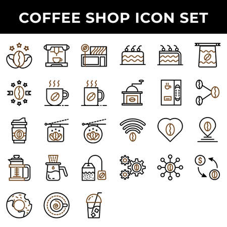 coffee shop icon set include premium coffee,espresso,cafe,mug,drink,cup,dropper,bag,cake,cake,bean,girder,love,pin,transaction 矢量图像