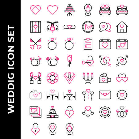 wedding icon set include heart,cake,film,bell,tie,key,love,diamond,rose,heart,man,camera,date,photo,building,lock,ring,bed,food,chat,calendar,married