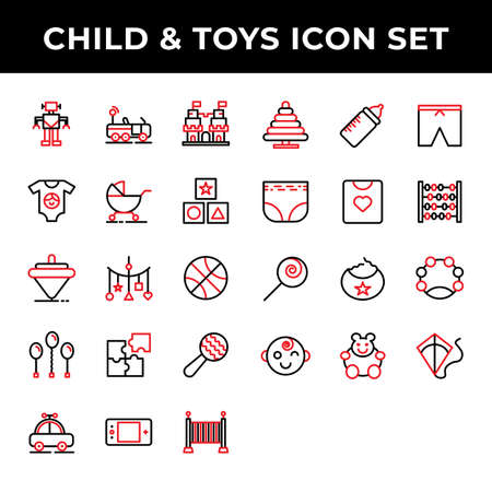 child and toys icon set include robot,car,castle,clothes,carriage,kids 向量圖像