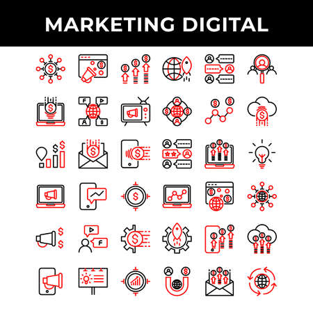 marketing digital icon set include promotion,advertising,mail,phone,laptop,microphone,promotion,gear,banner,target,network,money,laptop,idea,mail 矢量图像