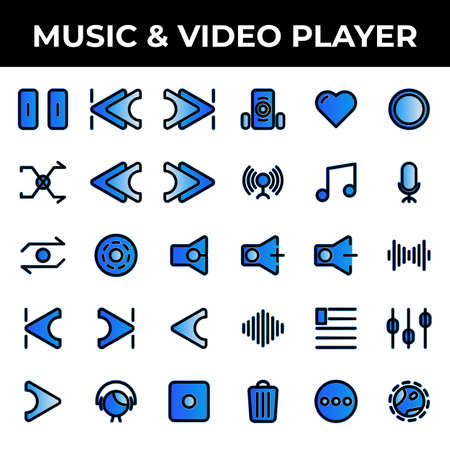 music & video player icon set include pause, track, music, skip, ahead, skip ahead, back, skip back, shake, shuffle, reload, rewind, audio player, repeat, media player, disc, sound, mute, start